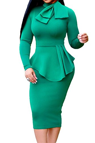 ThusFar Peplum Waist Tie Neck Long Sleeve Bodycon Midi Dress For Women Green XL (Peplum Waist Dress)