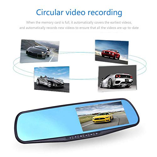 Dumcuw Car Mirror Dash Cam, 4.3 Inch LCD Screen Rear View Mirror Driving Recorder, 1080P Dual Lens HD Front and Rear Dash Cam with Loop Recording Gravity Sensor Motion Detection Night Vision.