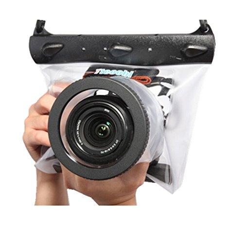 Tteoobl Dslr SLR Camera Waterproof Underwater Housing Case Pouch Dry Bag for Canon Nikon (Transparent)