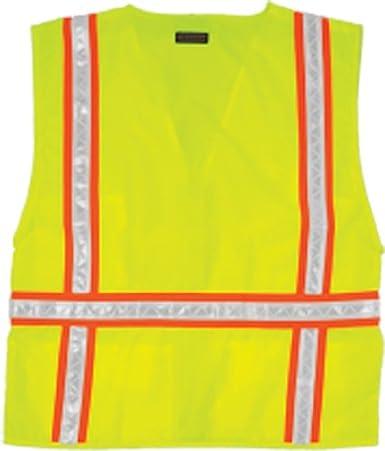 2X Lime 1092 2X ML Kishigo 1092 Polyester Economy Multi-Pocket Surveyors Vest