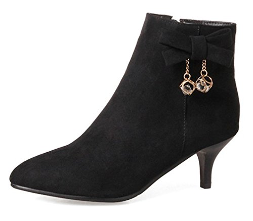 WAROFT Ladies Faux Suede Kitten Heels Pointed Toe Ankle Boots with Side Zipper and Rhinestone Size 3-10 Black