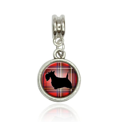 (Scottie Dog on Red Plaid Scottish Terrier Euro European Italian Style Bracelet Bead Charm)