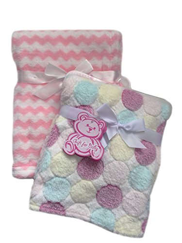 Secret for Longevity 2-Pack Of Super Soft Plush Lightweight Furry Fleece Sherpa Quilt Polka Dots Pink Stripes Girl Baby Blanket Gift Set (Quilt Sherpa Fleece)