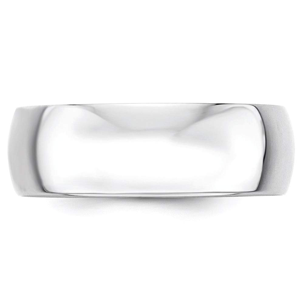 Lex /& Lu 10k White Gold 7mm LTW Half Round Band Ring