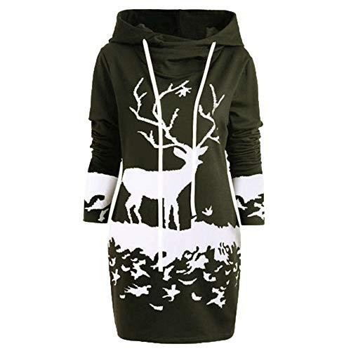 iFOMO Womens Winter Christmas Elk Animal Printed Hooded Sweater Dress Drawstring Mini Tunic Sweatshirt(Green,L)