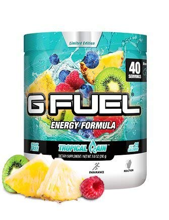 G Fuel Tropical Rain Tub (40 Servings) Elite Energy and Endurance Formula 9.8oz (G Fuel Flavors)
