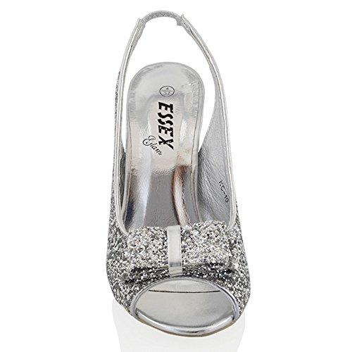Essex Glam Femmes Stiletto Sparkly Synthétique Paillettes Bridal Sandales À Talons Paillettes Dargent