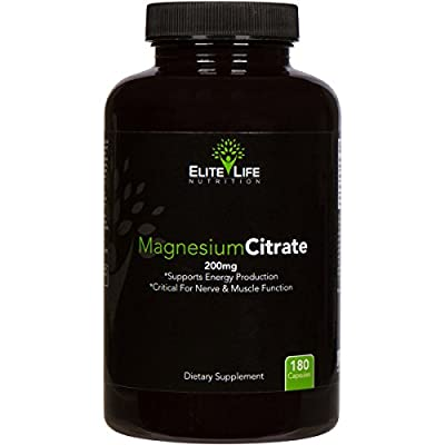 Magnesium Citrate 200mg - Pure, High-Potency, Bioavailable, and Natural Magnesium - Optimum For Stress and Anxiety Relief, Sleep, Relaxation, Constipation, and Brain Support Now - 180 Capsules
