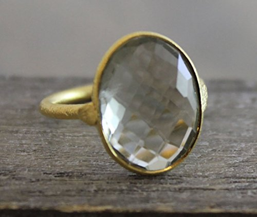 (Oval Prasiolite Green Amethyst Gemstone Gold Plated Sterling Silver Statement Ring, size 9)