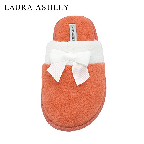 laura-ashley-ladies-terry-scuff-slipper-with-bow-burnt-sienna-size-m