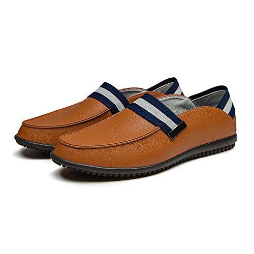 Marrone Classic Slip Heel Pelle On Slip 2018 42 Leather On Jiuyue Slip da Dimensione shoes Scarpe Genunie Uomo Color Low Marrone On Scarpe uomo Flats EU 1FvzwAq