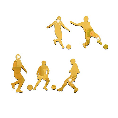Creative 2018 World Cup Theme Football Soccer Sportsman Wall Stickers Acrylic Mirror Decals for Kids Boys Men Bedroom Living Room Wall Art Murals DIY Home Décor- MSL092 (Gold) by Minisland