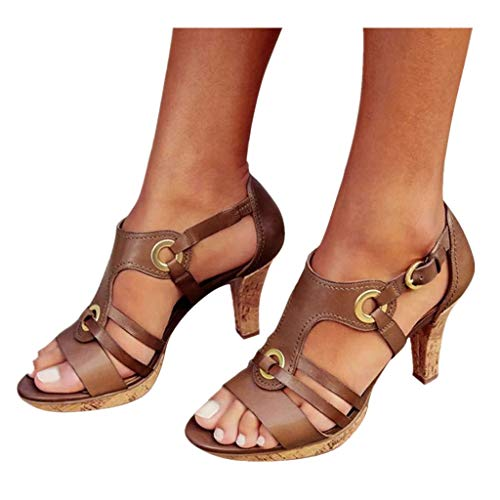 Cenglings Rome Shoes,Women's Open Toe Strappy Hollow Out Ankle Strap Buckle Sandals Low Chunky Heel Pumps Beach Shoes Brown