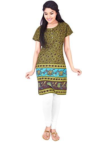 IndusDiva Women's Green, Yellow Cotton Straight Cut Kurti