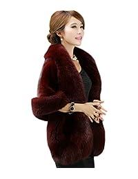 Qushy Women's Faux Fur Coat Wedding Cloak Cape Shawl for Evening Party