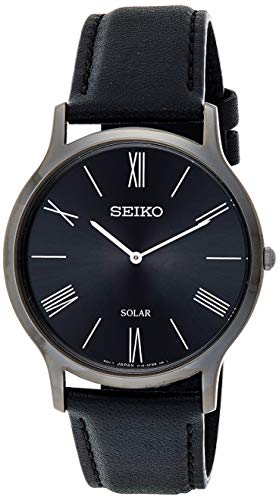 Seiko Men's Stainless Steel Quartz Watch with Leather Strap, Black, 20 (Model: SUP855P1)