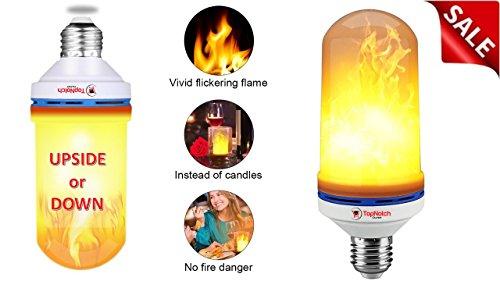Fire Light Bulbs - LED Flame Effect Light Bulb - Flame Bulb - Add a Vintage Romantic Atmosphere To Any Bar Restaurant Hotel or Home - Gravity Sensor - Flickering Light Bulbs - E26 LED Bulb -