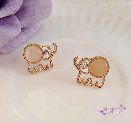 usongs imports Thai Elephant Commuter Hao stone opal gemstone earring Southeast Asian style beige by usongs