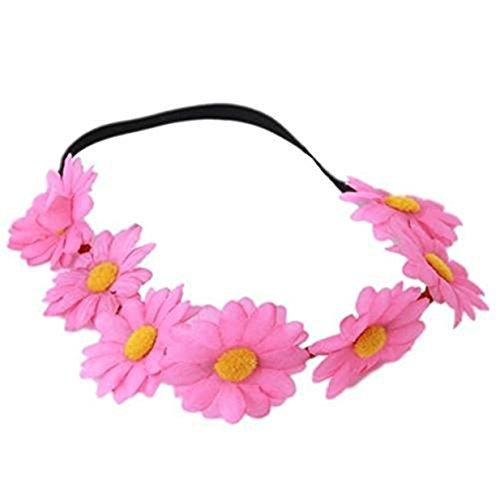 Lalang Strand Badeort Kranz Stirnband Blumenstirnband Garland Festival Hochzeit Braut Haarband Kopfband (Rose Red)