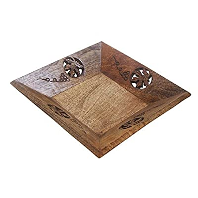 "Mothers Day Gifts Rustic Wooden Square Serving Tray - 8.25"" - Fruit Platter - Handcrafted Kitchen Serveware Accessories"