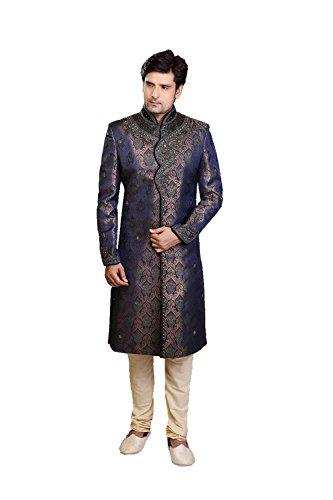 (Indian Fashion Beige Silk Sherwani 73851)