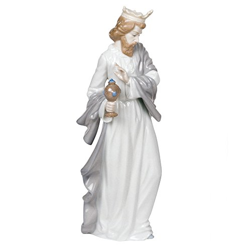 "Nao by Lladro Collectible Porcelain Figurine: KING GASPAR WITH CUP - 11-1/2"" tall - Nativity"