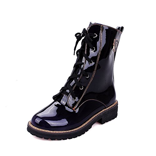 Boots Lace Women's Low Toe Up Low Round Top Black Heels AmoonyFashion Closed PU 5PYdqZwYx