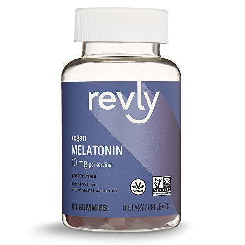 Amazon Brand – Revly Melatonin 10mg, 60 Gummies, 1 Month Supply, Vegan, Non-GMO