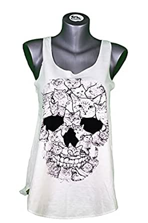 Camiseta SIN Mangas - Calavera - Gatos - Cabeza DE Muerte - Tatuaje - Cats Kitties Skull Head Woman Tank-Top: Amazon.es: Ropa y accesorios