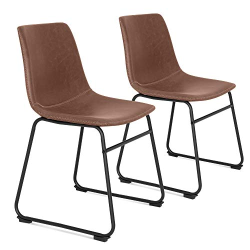 Best Choice Products Set of 2 Vintage Distressed Faux Leather Upholstered Dining Chairs Home Furniture for Kitchen, Office w/Metal Frame, Foot Pads, Decorative Stitching - Brown