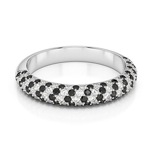 Or blanc 18carats 0.29CT G-H/VS Certifié Coupe ronde Noir sertie de diamants Agdr-1118