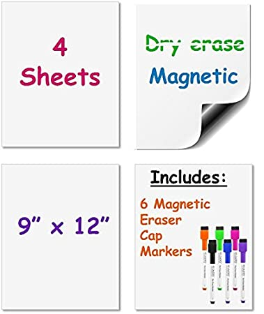Amazon.com : Dry Erase Magnetic Sheets 9-inch x 12-inch Set of 4 ...