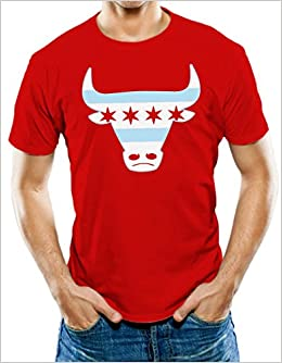 Amazon Com Universal Apparel Men S Chicago Flag Bull T Shirt Clothing