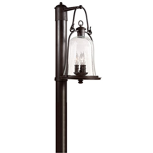 (Troy Lighting Owings Mill 3-Light Outdoor Post Lantern - Natural Bronze Finish with Clear Seeded Glass)