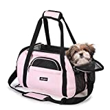 "JESPET Soft Pet Carrier for Small Dogs, Cats, Puppy, Airline Approved Pet Carrier for Airline, Train, Car Travel, Pink, 19"" x 10"" x 13"""