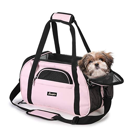 "Jespet Soft Sided Pet Carrier Comfort 17"" for Airline Travel, Portable Dog Tote Bag for Small Animals, Cats, Kitten, Puppy, Pink"