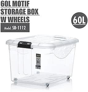 HOUZE SB-1112-CLEAR Motif Storage Box with Wheels, 60L (SB-1112)