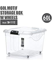 HOUZE Motif Storage Box with Wheels, Clear, 60L (SB-1112)