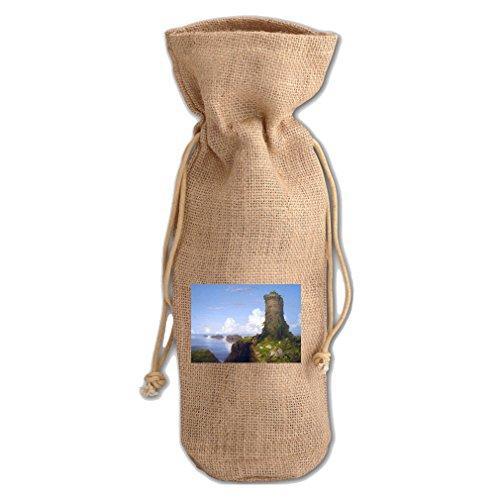Italian Coast Ruined Tower (T Cole) Jute Burlap Burlap Wine Drawstring Bag (Ruined Tower)