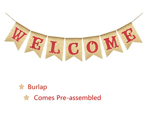 WELCOME Vintage Rustic Party Banner Burlap Bunting House Home Classroom Fireplace Decoration Garland Photo Booth Prop, Wedding Birthday Valentine's Graduation Back To School Homecoming Party Supplies -
