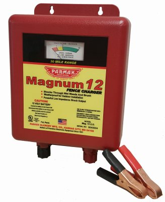 Parker McCrory Mfg MAG12UO Electric Fence Charger, 30-Mile, Low Impedance, 12-Volt Battery