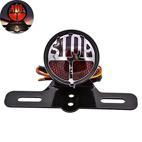 (KaTur Round Stop Vintage License Plate Mount Tail Indicator Lamp Brake Light for Harley Bobber Chopper Honda Yamaha Suzuki)