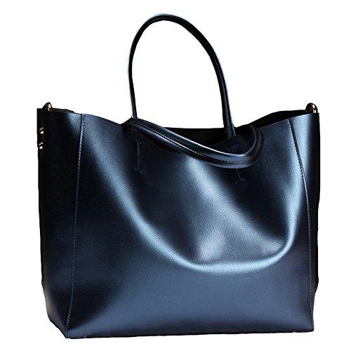 Covelin Women's Handbag Genuine Soft Leather Tote Shoulder Bag Hot Blue (Blue Patent Leather Bag)