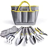 Jardineer Gardening Tools-8 Piece Outdoor Tough Garden Tools Set with Garden Trowel,Shears and More Hand Tools in a Big Garden Tote Bag for Gifts