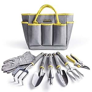 jardineer herramientas de jardín conjunto 8piezas Juego de herramientas de jardinería con guantes de jardinería y de jardín bolsa, resistente sólido pulido cabeza de aluminio, cómodo y ergonómico Asas