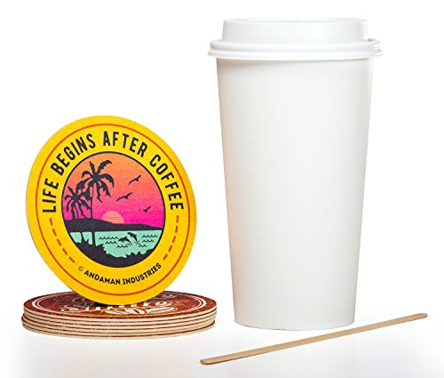 Solo 16 oz Hot Paper Coffee Cups (100ct) Bundle - Cup, Lid, Stir Stick, and Coaster - White, Eco-Friendly, BPA Free, Leak Resistant