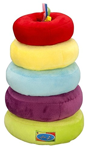 Happy Stacker Ring Toy (Stacking Rings Toys - Soft Stuffed Plush Educational Game for baby infant toddler kids and young children,Safe Colorful Shape Sorting Stacker Play for boys and girls. The Perfect Gift !)