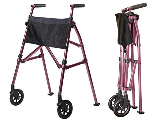 Stander EZ Fold-N-Go Walker - Lightweight Folding & Height Adjustable Adult Travel Walker for Seniors + Locking Swivel Wheels & Pouch - Regal Rose