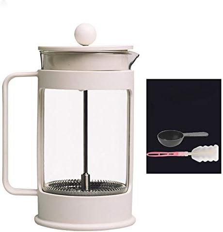 フレンチプレスポット フレンチプレスポットガラスコーヒーフィルターティーメーカーフランスのフィルターポット手作り世帯 フレンチプレスコーヒーメーカー (色 : White, Size : 360ml)