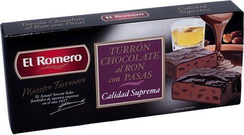 Turrones El Romero CHOCOLATE RON CON PASAS 200g. EL ROMERO ...